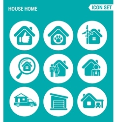 set of round icons white House home selling home vector image