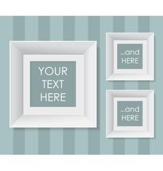 Set of white frames over striped background vector image