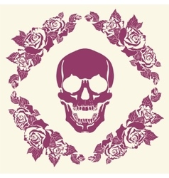 Skull in the frame of roses vector image vector image