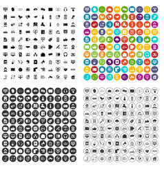 100 communication icons set variant vector