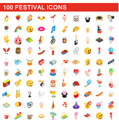 100 festival icons set isometric 3d style vector