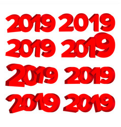 2019 3d sign set red numbers 2019 design vector