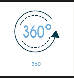 360 degree flat line icon vector image