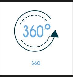 360 degree flat line icon vector