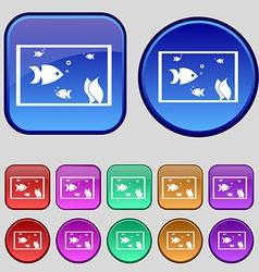 Aquarium Fish in water icon sign A set of twelve vector