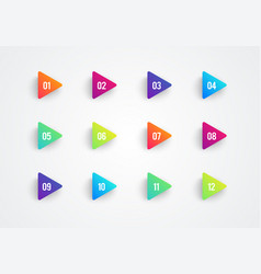 Arrow bullet point triangle flags colorful gradien vector