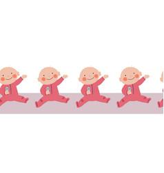 Baby girl seamless border repeating vector