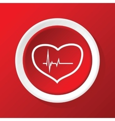 Beating heart icon on red vector