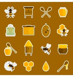Bee honey icons stickers set vector image