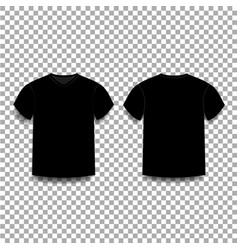 Black men s t-shirt template v-neck front and vector