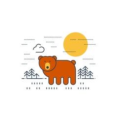 Brown bear outdoor simple cartoon vector image