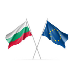 Bulgaria and european union waving flags vector