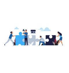 Business puzzle concept cartoon businessman vector