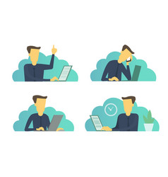 Businessman office set of situations everyday vector