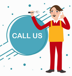 call us mechanic technician phone service standing vector image