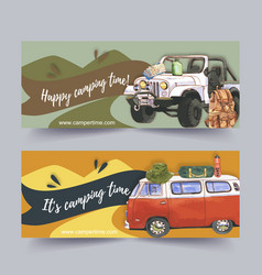 Camping banner design with car backpack map tent vector