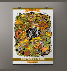 cartoon hand drawn doodles honey poster design vector image