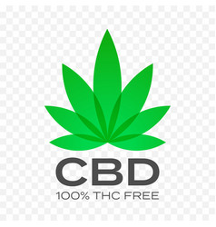 Cbd free cannabis leaf icon 100 percent cannabis vector