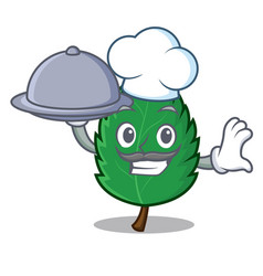 Chef with food mint leaves mascot cartoon vector