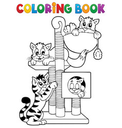 coloring book cat theme 1 vector image