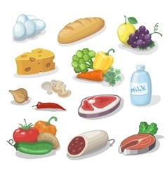 Common everyday food products Cartoon icons set vector