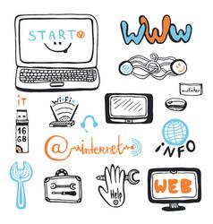 Computer service doodles set computer repair vector