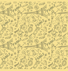 Contour seamless pattern travel to europe france vector