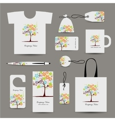 Corporate business style design floral tree vector image
