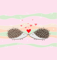 Couple of happy loving hedgehogs valentines card vector