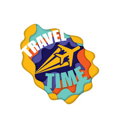 cut paper travel wallpaper vector image