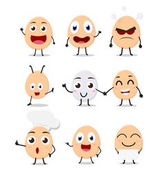 cute egg cartoon collection set vector image