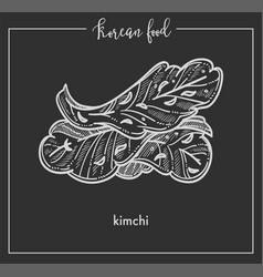Delicious vegetarian kimchi leaves from vector