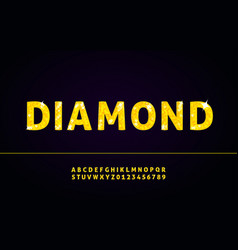 diamond alphabet font with letters and numbers vector image