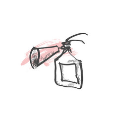 doodle sketch drawing of fire extinguisher vector image
