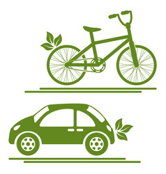 Eco transport car and bike green icons vector