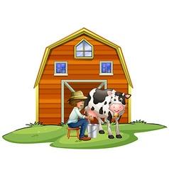 Farmer milking a cow vector