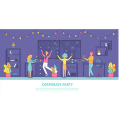 Flat banner corporate party employee vector