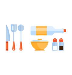 flat set kitchen utensils skimmer vector image