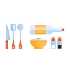 flat set of kitchen utensils skimmer vector image