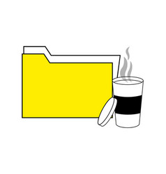 Folder file archive and hot coffee vector