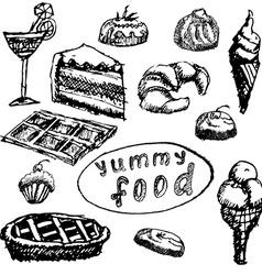 Food deserts set sketch handdrawn on blackboard vector