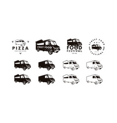 Food truck delivery silhouettes vector