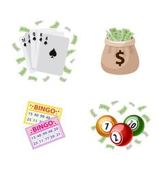 Gambling symbols - bingo playing cards jackpot vector