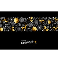 Gold Christmas and New Year ornament pattern vector