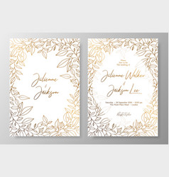 Gold invitation with frame of leaves gold cards vector