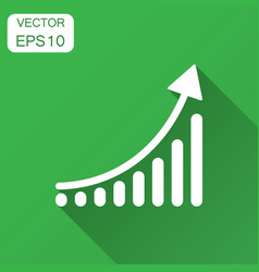 growing bar graph icon in flat style increase vector image
