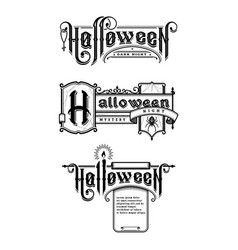 halloween vintage font set emblem in old vector image