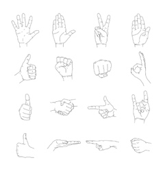 Hand icon outline empty silhouette set vector image