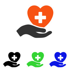 hand offer cardiology flat icon vector image