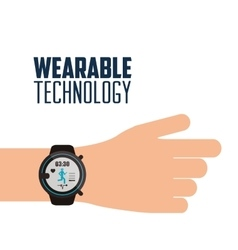 hand with smartwatch wearable technology vector image